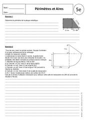 Périmètres – Aires – Calculs – Exercices corrigés - 5ème
