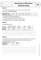 Mouvement uniforme et unités de temps - 5ème - Exercices corrigés