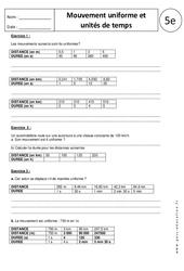 Unités de temps – Mouvement uniforme  – Exercices corrigés – 5ème
