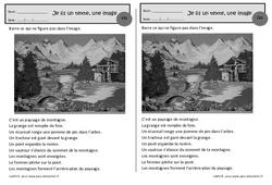 Paysage de montagne – Je lis un texte, une image – Ce1 – Exercices de lecture – Cycle 2