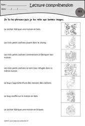 Les trois petits cochons  – Je lis, j'associe l'image – Ce1 – Exercices de lecture – Cycle 2