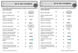 Le ballon – Je lis des consignes – Ce1 – Exercices de lecture – Cycle 2