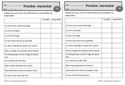 Possible – Impossible – Ce1 – Exercices de lecture – Cycle 2
