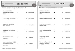 Qui à parlé – Ce1 – Exercices de lecture – Cycle 2