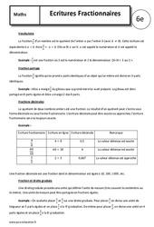 Ecritures fractionnaires – Cours – 6ème