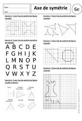 Axe de symétrie - Exercices corrigés - 6ème - Symétrie axiale
