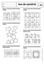 Axe de symétrie – 6ème – Exercices corrigés – Symétrie axiale
