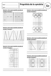 Propriétés de la symétrie – 6ème – Exercices corrigés – Symétrie axiale