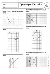 Symétrique d'un point – 6ème - Exercices corrigés – Symétrie axiale