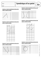 Symétrique d'un point - Exercices corrigés – 6ème - Symétrie axiale