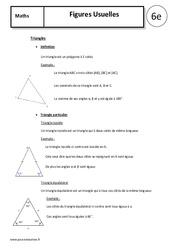 Figures Usuelles: Triangles - Quadrilatères - Cours - 6ème
