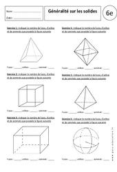 Généralités sur les solides – Exercices corrigés – 6ème – Parallélépipède rectangle