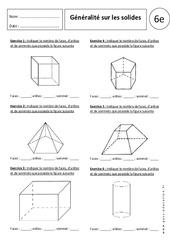 Solides: Généralités – Exercices corrigés – 6ème – Parallélépipède rectangle
