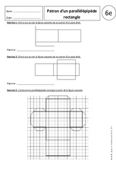 Patron du parallélépipède rectangle – Exercices corrigés – 6ème