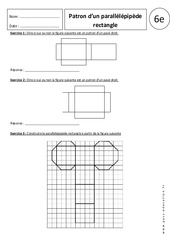 Patron du parallélépipède rectangle – 6ème – Exercices corrigés