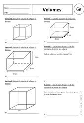 Volumes – Exercices corrigés – 6ème – Parallélépipède rectangle