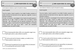 Sarah la girafe  – Ce1 – Exercices de lecture – Idées essentielles d'un texte