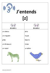 Son [z] - s - z – Cp - Ce1 – Affiche pour la classe – Etude des sons