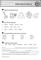 Exercices – Son [ʒ] j – g – ge – Ce1 – Cycle 2 – Etude des sons