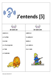 Son [ɔ̃] - on - om –  Cp -  Ce1 – Affiche pour la classe – Cycle 2