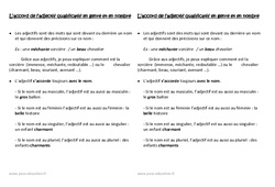 L'accord de l'adjectif qualificatif en genre et en nombre – Ce1 – Leçon