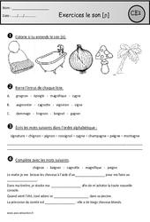 Exercices - Son [ɲ] - gn – Ce1– Cycle 2 - Etude des sons