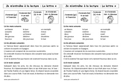 La lettre x - Ce1 – Phonologie – Cycle 2 - Etude des sons