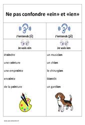 ein et ien – Ne pas confondre – Cp – Ce1– Affiche pour la classe – Cycle 2