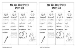 Fiche mémo élève - f et V – Ne pas confondre – Cp – Ce1 – Cycle 2