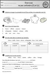 Exercices - f et V – Ne pas confondre – Ce1 – Cycle 2