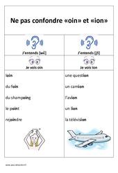 oin et ion – Ne pas confondre – Cp – Ce1– Affiche pour la classe – Cycle 2