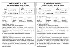 Fiche de lecture – oin et ion – Ne pas confondre – Ce1 – Cycle 2