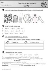 Exercices - p et b – Ne pas confondre – Ce1 – Cycle 2