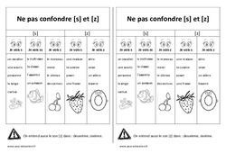 Fiche mémo élève – s et z – Ne pas confondre – Cp – Ce1 – Cycle 2