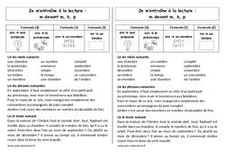 Fiche de lecture – m devant m, b,p – Ce1– Cycle 2 – Orthographe
