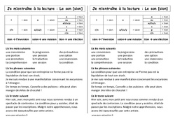 Son sion - ssion - tion – Ce1 – Phonologie – Cycle 2 - Etude des sons