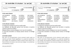 Fiche de lecture – Son m – Ce1– Cycle 2 - Etude des sons