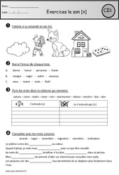Exercices - Son n – Ce1– Cycle 2 - Etude des sons