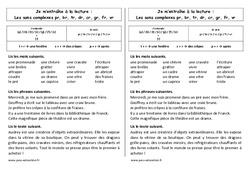 Fiche de lecture – Sons pr, br, tr, dr, cr, gr, fr, vr – Ce1–  Cycle 2 – Etude des sons