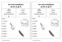Fiche mémo élève – Sons complexes pl, bl, cl, gl, fl – Cp – Ce1 – Cycle 2