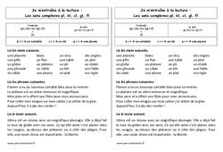 Fiche de lecture – Sons complexes pl, bl, cl, gl, fl – Ce1 – Cycle 2 – Etude des sons