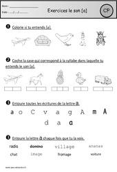 Exercices – Son a – Cp – Etude des sons – Cycle 2