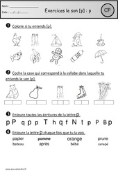 Exercices – Son p – Cp – Etude des sons – Cycle 2