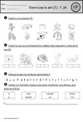 Exercices – Son f – Cp – Etude des sons – Cycle 2