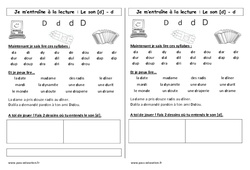 Son d – Cp – Phonologie – Etude des sons – Cycle 2
