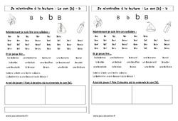 Fiche de lecture – Son b – Cp – Etude des sons – Cycle 2