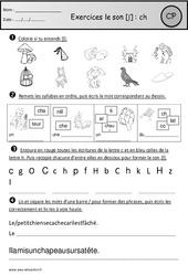 Exercices – Son ch – Cp – Etude des sons – Cycle 2