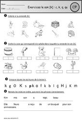 Exercices – Son k : c, k, q, qu – Cp – Etude des sons – Cycle 2