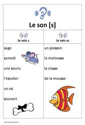 Son s – s, ss – Etude des sons – Cp - Ce1 - Affichage pour la classe