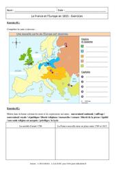 La France et l'Europe en 1815 - 4ème - Exercices corrigés
